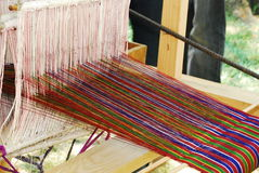 Colorful Yarn, Hand Loom Stock Photo