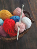 Colorful yarn and knitting needle Royalty Free Stock Photos