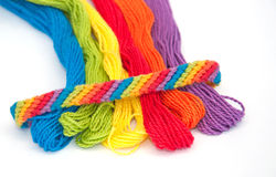 Colorful yarn for making wristbands Stock Image