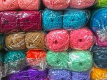 Colorful yarn in market. Close up colorful yarn in market Stock Photo