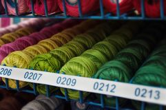 Colorful yarn shoted in store. Very colorful high quality yarn for handmade hobby shoted in store Stock Photo