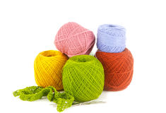Colorful yarn on white background Royalty Free Stock Photography