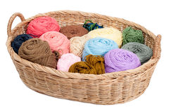 Colorful yarn wool for knitting in basket Stock Photo