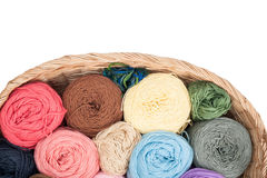 Colorful yarn wool for knitting in basket Stock Images