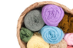 Colorful yarn wool for knitting in basket Stock Photos