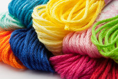 Colorful yarns. Closeup of colorful yarns for embroidering Royalty Free Stock Images
