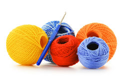 Colorful yarns for crocheting and hook on white Royalty Free Stock Photography