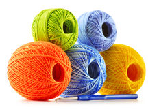 Colorful yarns for crocheting and hook on white Royalty Free Stock Photo