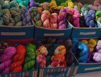 Colorful Yarns at Farmers Market in Las Cruces, New Mexico. Brightly colored cotton yarns at a large farmers market in Las Cruces, New Mexico Royalty Free Stock Image