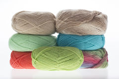 Colorful yarns. Lot of colorful yarns colorful yarns  on white Royalty Free Stock Photo