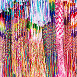 Colorful yarns. In the market Royalty Free Stock Image