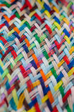 Colorful yarns woven loosely. Colorful cotton yarns woven loosely into a pattern Stock Photos
