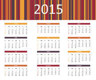 2015 colorful year calendar in bright colors. 2015 colorful year calendar with yellow, orange, red and purple stripes Stock Photo