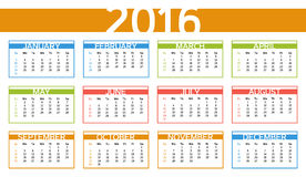 2016 colorful year calendar in English language. Week starts with Sunday Royalty Free Stock Photo