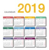 Colorful Year 2019 calendar horizontal vector design template, simple and clean design. Calendar for 2019 on White Background for organization and business Stock Image