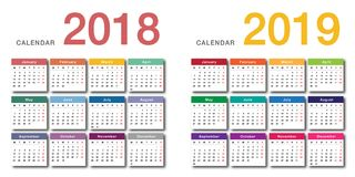 Colorful Year 2018 and Year 2019 calendar horizontal vector design template, simple and clean design. Calendar for 2018 and 2019 on White Background for Royalty Free Stock Photos