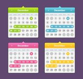 Colorful year 2018 calendar isolated on a dark background. Desk Calendar 2018. Simple Colorful minimal elegant desk calendar template in purple background Royalty Free Stock Photography
