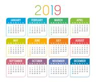Year 2019 calendar vector template. Colorful year 2019 calendar isolated on a white background stock illustration