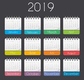 Colorful year 2019 calendar template. Vector Illustration royalty free illustration