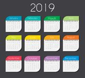 Colorful year 2019 calendar template. Vector Illustration stock illustration