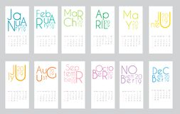 Colorful year 2019 calendar template. Vector Illustration vector illustration