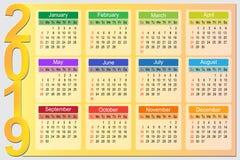 Colorful 2019 Year Planner Calendar Vector Design royalty free illustration