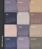 Colorful year 2019 calendar vector template. Vector eps 10. Colorful year 2019 calendar vector template. Eps 10 royalty free illustration