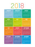 Colorful year 2018 calendar vector template. Year 2018 seasonal calendar, isolated on a white background Royalty Free Stock Images