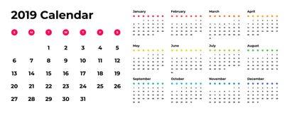 Colorful year 2019 calendar vector template. Vector eps 10. Colorful year 2019 calendar vector template. Eps 10 stock illustration