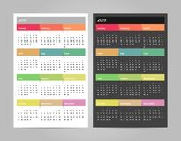 Colorful year 2019 calendar vector template. Vector eps 10. Colorful year 2019 calendar vector template. Eps 10 vector illustration