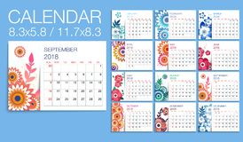Colorful year 2018  floral  calendar vector template. Vector of 2018 new year calendar in minimal table simple style and with bright floral decorations. Holiday Stock Photos