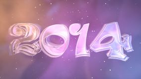 Colorful Year 2014. Logo made of Glass and Metal with elegant typography and vivid background. Highest resolution possible Royalty Free Stock Photos