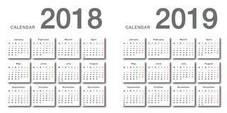 Colorful Year 2018 and Year 2019 calendar horizontal vector design template, simple and clean design.8 royalty free illustration