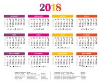 2018 Colorful yearly calendar. Stock Image