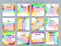 Colorful Yearly Calendar for New Year 2017. Colorful Yearly Calendar design for Happy New Year 2017 celebration Royalty Free Stock Images