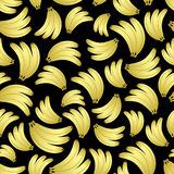 Colorful yellow bananas fruits seamless black pattern Stock Photo
