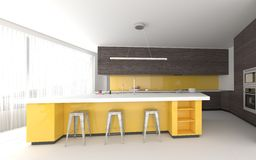 Colorful yellow bespoke kitchen interior Stock Images