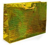 Colorful yellow foil shopping bag Royalty Free Stock Images