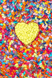 Colorful and yellow Hearts background. Sweetheart Candy. Valentines Day Royalty Free Stock Image