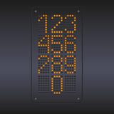 Colorful yellow LED panel with numbers. Royalty Free Stock Image