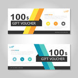 Colorful yellow orange gift voucher template layout design set, certificate discount coupon pattern for shopping Stock Images
