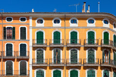 Colorful yellow residential house in Majorca Royalty Free Stock Images
