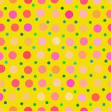 Colorful Yellow Retro Polka Dots. Fun and funky polka dot background pattern Vector Illustration
