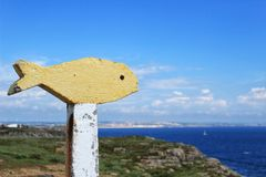 Colorful yellow stone fish in a viewpoint in Peniche Stock Photos