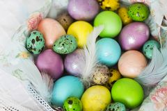 Colorful - yellow, violet, light blue, peach color Easter eggs with feathers in wicker basket. With lace on white tablecloth royalty free stock image