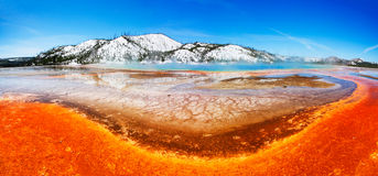 Colorful Yellowstone Spring. The colorful Grand Prismatic Spring (of Midway Geyser Basin) - Yellowstone National Park Royalty Free Stock Photos