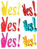 Colorful yes signs. Set of colorful yes signs with hands and fingers, isolated on white background Royalty Free Stock Photos