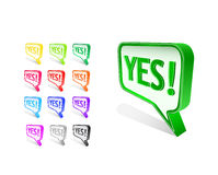 Colorful yes word on chat sign Stock Image