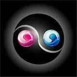 Colorful Ying Yang. Ying Yang Glossy Colorful style Stock Photography