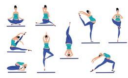 Colorful Yoga Poses Set stock illustration